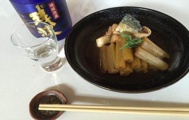 フキと鯖の煮物の完成