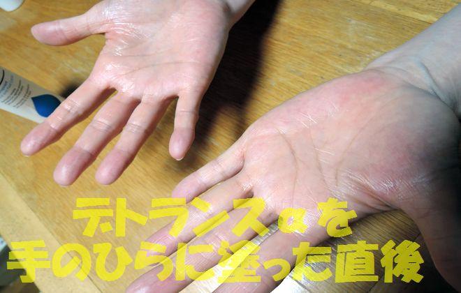 デトランスαを塗った直後の手のひら